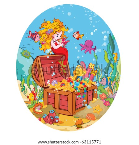 vector illustration, little mermaid's treasure, card concept.