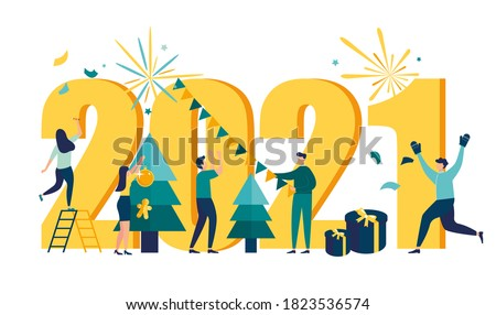Vector illustration little people are preparing for the New Year, are engaged in decoration, the inscription New Year 2021