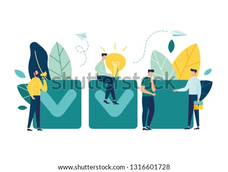 vector illustration. little people characters make an  design business graphics tasks scheduling-Vector