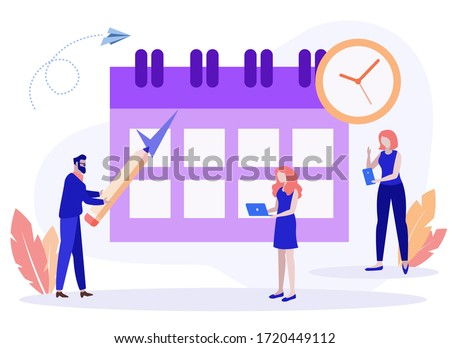 vector illustration. little people characters make an online schedule in the tablet. design business graphics tasks scheduling on a week - Vector. Business schedule scheduling design for the week.