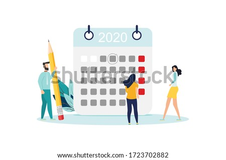 vector illustration. little people characters make an online schedule in the tablet. design business graphics tasks scheduling on a week - Vector - Vector