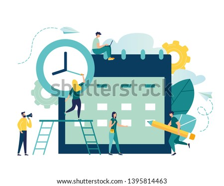 vector illustration. little people characters make an online schedule in the tablet. vector, design business graphics tasks scheduling on a week