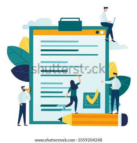 Vector illustration, little people fill out a form, modern concept for web banners, infographics, websites, printed products