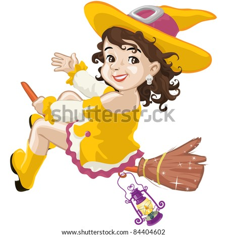 Vector illustration, little witch says hello on Halloween, cartoon concept, white background.