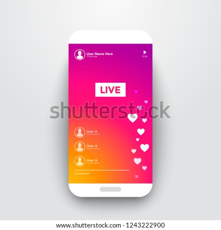 Vector Illustration Live Video Streaming Stories On Colorful Gradient Background. Smartphone Stream User Interface Template.