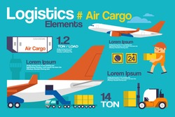 Vector Illustration Logistic, Air Cargo Infographics and Elements.