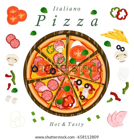 Vector illustration logo for whole round hot pizza, slice triangle, pizzeria menu. Pizza on the wood board, ingredients for pizzeria on the chalkboard, food slices in box. Eat tasty Italian pizzas.