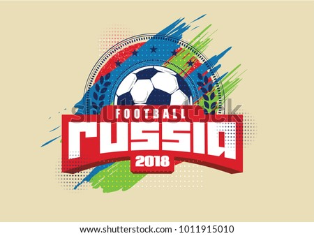 vector illustration. logo soccer cup on football 2018 Russia. graphic design set of banners with modern abstractions and patterns on the background. realistic isolated vector ball
