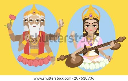 vector illustration lord brahma