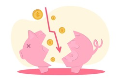 vector illustration loss of money. The concept of financial crisis, bankruptcy, the onset of poverty,  budget recession, market fall . Bad economy and lower investment costs.