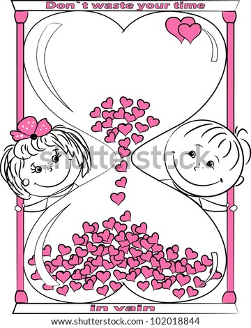 vector illustration love man and woman look out for the hourglass