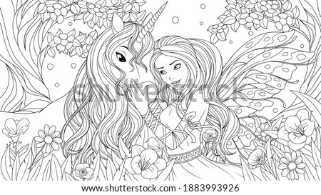 Vector illustration, lovely fairy and little unicorn in the fairy forest, coloring book