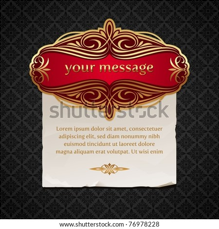 Vector illustration - Luxury vintage golden framed labels with paper banner
