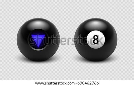 Vector illustration Magic 8 ball set. Eight. Isolated on a transparent checkered background. EPS 10