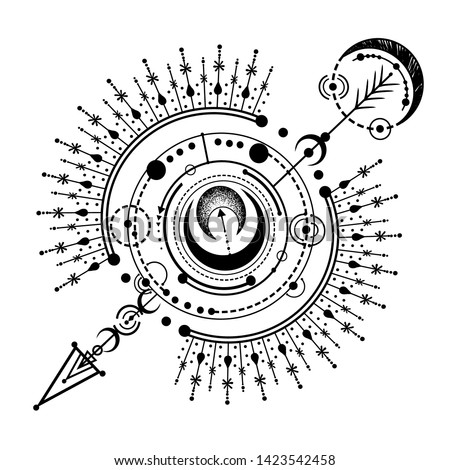 Vector illustration, magical astrology, spirituality and occultism,  Alchemy, Handmade, print on t-shirt, tattoo