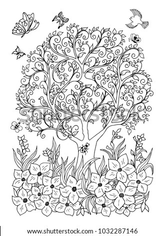 Vector illustration. Magnificent tree surrounded by flowers. Coloring book. Anti Stress for adults and children. Black and white.