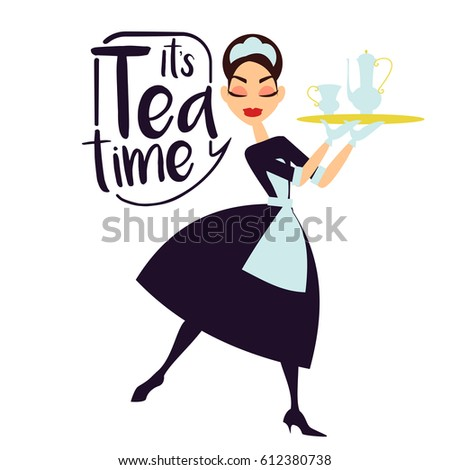 vector illustration maid in a