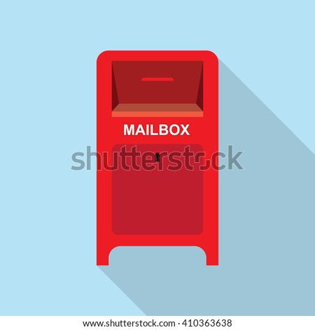 Vector illustration Mailbox Flat background. Red Street Postbox