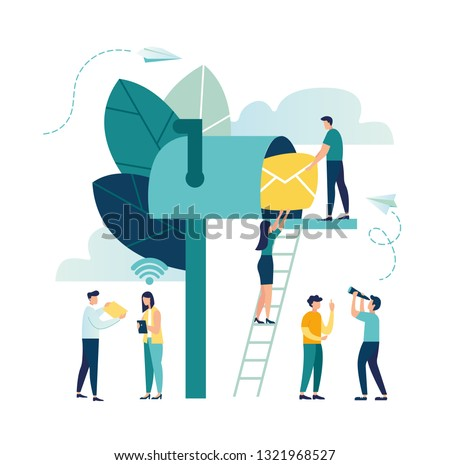 Vector illustration, mailbox with letters, receiving letters, sorting, Web mail or mobile service layout for website header