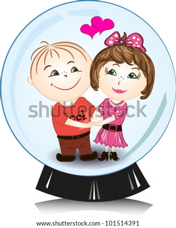 vector illustration - man and woman in snow globe