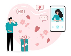 Vector illustration Man and woman talking by smart phone. People during romantic relationships  Relationship, romantic, love background. Communication Design for website, app, print