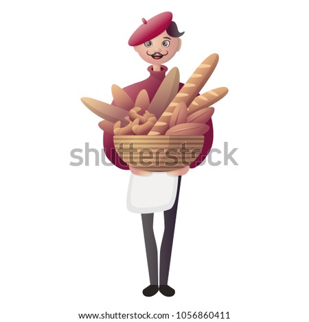 vector illustration  man baker