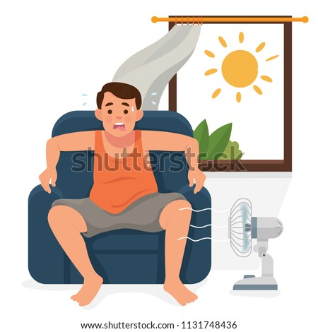 vector illustration man / boy sitting in his house in front of open window and turn of a fan, man exhausted of hot summer day