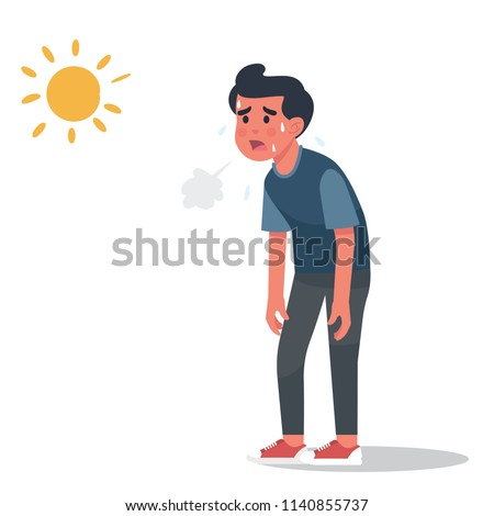 vector illustration man got sunburn in very hot summer days, man exhausted and sunburn