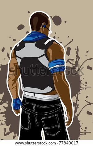 vector illustration (man on dirty brown background)