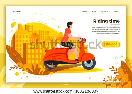 Vector illustration - man riding on motorbike. Park, city, trees and hills on background. Banner, site, poster template with place for your text.