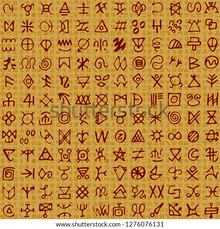 Vector illustration manuscript of Egyptian like ornaments and hieroglyphs on scroll scripts. Seamless pattern background.
