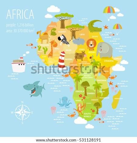 stock vector vector illustration map of africa on it are the lion rhino elephant monkey crocodile bananas 531128191 - Каталог — Фотообои «Для детской»