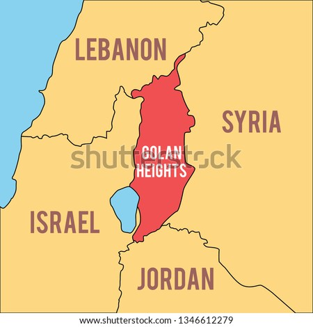 Vector illustration map of Middle East region including Golan Heights, Israel, Syria, Lebanon and Jordan