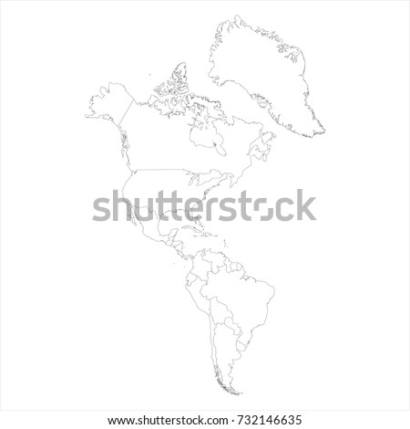 Vector illustration map of South and North America isolated on white background. Outline drawing Americas map icon