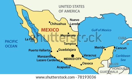 vector illustration map of united mexican states