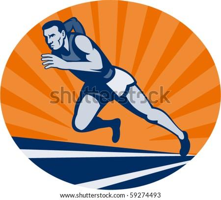 Marathon Runner Logo Marathon Runner on Track