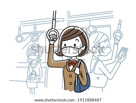 Vector illustration material: Female student wearing a mask and going to school by train