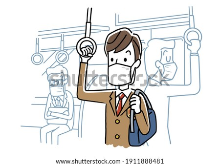 Vector illustration material: Male student wearing a mask and going to school by train
