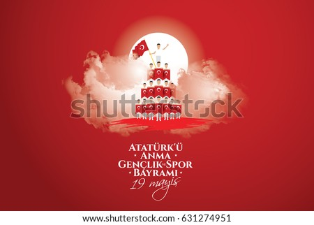 Shutterstock vector illustration 19 mayis Ataturk'u Anma, Genclik ve Spor Bayramiz , translation: 19 may Commemoration of Ataturk, Youth and Sports Day, graphic design to the Turkish holiday, children logo.