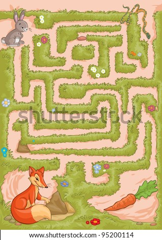 Vector illustration, maze, help the bunny reach the carrot without being caught by the snake or fox, card concept.