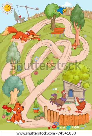 Vector illustration, maze, how the fox can reach the chicken without meeting the dog, card concept.