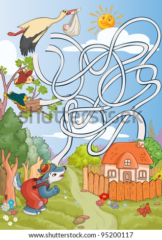 Vector illustration, maze, where the stork must take the baby, card concept.