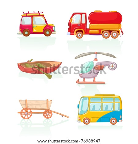 Vector illustration, means of conveyance, cartoon concept, white background, similar images in portfolio.