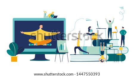 Vector illustration, meditation concept during work break, health benefits of body,  vector,mind and emotions, thought process, start and idea search