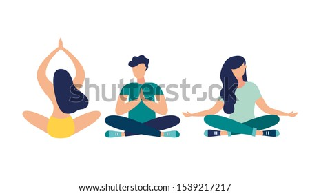 Vector illustration, meditation concept,  vector, yoga health benefits of the body. mind and emotions, thought process