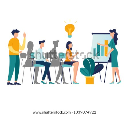 vector illustration. meetings business training, design composition market analysis creative solution. professional development of employees