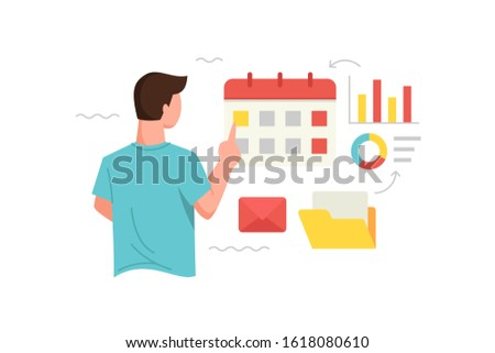 Vector illustration Men analyze data and arrange schedules or dates. Manage time and schedule concept illustration of marketing. Vector flat illustration