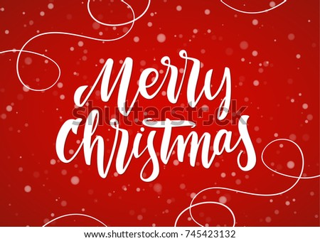 Vector illustration: Merry Christmas. Handwritten elegant modern brush lettering with hand drawn decoration on red snowflake background.