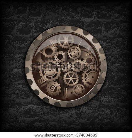 Vector illustration. Metal clock gear mechanism in the background of the texture black brick wall with dark gears. Steampunk backdrop