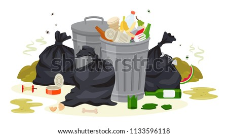 Vector illustration: Metal garbage containers with unsorted trash . Rubbish and trash bags lying around dump. Scene with pile of waste that smells ugly and started to decompose. Isolated on white.